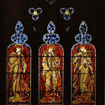 Three Trumpeting Angels. 1869. South Aisle window St. Edward the Confessor Church, Cheddleton, Staffordshire, UK