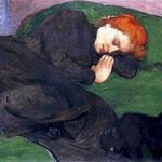 Spiaca kobieta z kotem-Slewinski, Wladyslaw  1856-1918