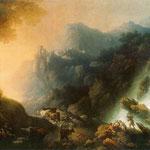 Krajobraz górski z wodospadem (Zachód slonca)-Lampi, Franciszek Ksawery 1782-1852