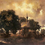 Pejzaz z kosciólkiem-Malecki, Wladyslaw 1836-1900