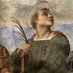 Raffaello - Stanze Vaticane - La Disputa (detail) [06]
