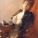 Portret kobiety z wachlarzem i papierosem-Zmurko, Franciszek  1858-1910