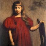 Portret dziewczynki w czerwonej sukni (Józefy Oderfeldówny)-Pankiewicz, Józef  1866-1940