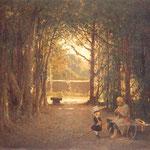 Stary zolnierz i dziecko w parku (Pasowanie na rycerza przez dziadunia)-Szermentowski, Józef 1833-1876