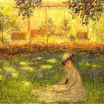 Woman Sitting in a Garden.