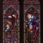 Annunciation. the left-hand and centre panels of a three-light window at St. Columba's Church. 1860. St. Columba's Church, Topcliffe, Yorkshire, UK