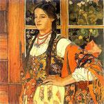 Dziewczyna góralska (Helenka na tle okna)-Jarocki, Wladyslaw 1879-1965