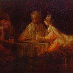 Rembrandt - Assuerus, Haman and Esther