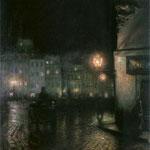 Rynek Starego Miasta w Warszawie noca-Pankiewicz, Józef  1866-1940