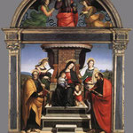 Raffaello - Madonna and Child Enthroned with Saints