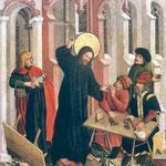 Poliptyk Augustianski, kwatera Wypedzenie przekupniów ze swiatyni-Haberschrack, Mikolaj XV wiek