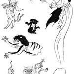 大学図書館 企画展示ポスター用イラスト「妖怪」