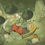 """Werkstatt aus """"Professor Murkes streng geheimes Lexikon der ausgestorbenen Tiere, die es nie gab"""", Tulipan Verlag, 2016, Texte von Andrea Schomburg"""