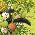 """Das Aye-Aye aus """"Der Mondfisch in der Waschanlage"""", Tulipan Verlag, 2015, Texte von Andrea Schomburg"""