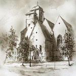 lav.Federzeichnung - Michaeliskirche Zeitz