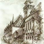 lav.Federzeichnung - Rathaus