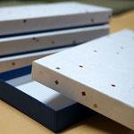 2種類の和紙を使って別注で作製した和ろうそく用の貼り箱