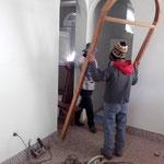 Bauphase - Holzrahmen werden eingepasst