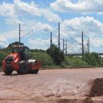 KBE an der S 289 Fraureuth bei Zwickau: Vorbereitung des Planum am Dammfuß