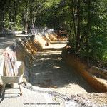Baugrube und Vorbereitung Planum für begrünbares Steilböschungssystem KBE Grün S