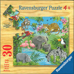Wilde Tiere,  Ravensburger Spieleverlag 30 Teile Holzpuzzle • EAN 4005556039241