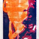Ben R., Holzschnitt, Öl auf Chinapapier