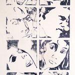 Faces (Linolschnitt), Holzschnitt, Öl auf Chinapapier