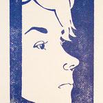 Anne 01, Holzschnitt, Öl auf Chinapapier