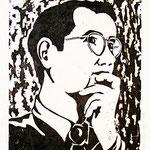 Heinrich, Holzschnitt, Öl auf Chinapapier