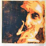 Rolf C., Holzschnitt, Öl auf Chinapapier