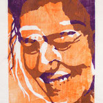 Heike P., Holzschnitt, Öl auf Chinapapier