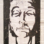 Trauer, Holzschnitt, Öl auf Chinapapier