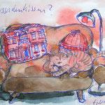 frau jenson, Illustration, Fassadenkissen