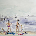 frau jenson, Illustration, am Ostseestrand