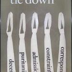 frau jenson, 2000, tie down/ decent, puritanic, admission, constraint, correspondent, Seide auf Pappe im Objektrahmen