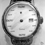 frau jenson, Illustration, Jetzt-Zeit-Uhr