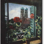 Blick vom Fensterbrett (München), Öl, Leinwand, 30 x 40 cm.---                                         View from the window sill, oil, canvas, 30 x 50 cm.