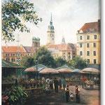 Viktualienmarkt (unikat), München, Öl, Leinwand, 18 x 24 cm.---                                       Viktualienmarkt (unique), Munich, oil, canvas, 18 x 24 cm,