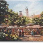 Viktualienmarkt (unikat), München, Öl, Leinwand, 30 x 40 cm.---                                       Viktualienmarkt (unique), Munich, oil, canvas, 30 x 40 cm