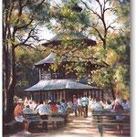 Chinesischer Turm, Englischer Garten, München, Öl, Leinwand, 30 x 40 cm.---                Chinese Tower, English Garden, Munich, oil, canvas, 30 x 40 cm,