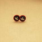 Ohrringe Schiffchen, rote Fassung, Durchmesser 1 cm, 2016