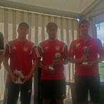 Alle Spielführer und die Pokale des 15. Rhiel- Cups 2014