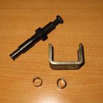 Das Widerlager, welches ich mir aus unseren Werkzeugen gesucht habe, damit ich die Anlasserbuchse mit dem Abzieher (Schwarz) herausziehen konnte...