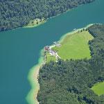 Tiefblick zum Königssee und St. Bartholomä
