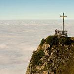 Über den Wolken: der Gipfel des Hochfelln