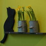Kantenhocker-Katze aus Holz