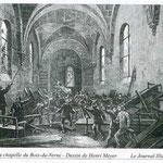 croquis de l'émeute dans la chapelle paru dans le journal illustré en 1882