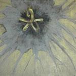 géranicée 100 x 100 cm acryl et cendres sur toile