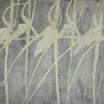 orchidées 100 x 100 cm acryl et cendres sur toile