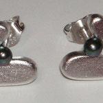Ohrstecker OHZ033, Silber mit dunkler Perle